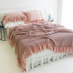 로맨틱 프릴 모달 와플 여름이불-핑크(퀸베개세트)