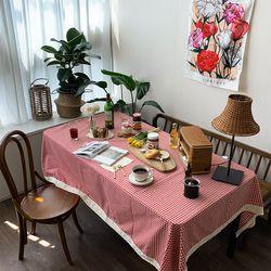 빈티지레드체크 식탁보 테이블보 150x175cm 테이블러너