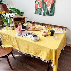 민들레레몬체크 식탁보 테이블보 140x175cm 테이블러너