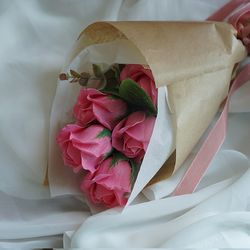비누꽃 장미 카네이션 꽃다발 (7송이) 수공예 당일제작