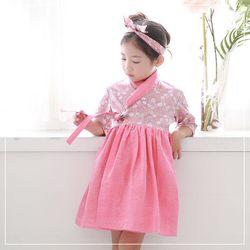 여아 7부 생활한복 국화 핑크
