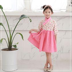 여아 7부 생활한복 로즈 핑크