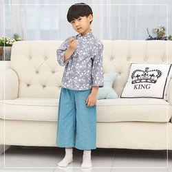 남아 7부 생활한복 국화 블루