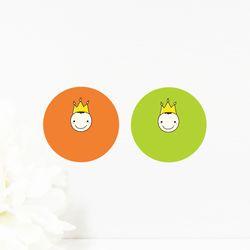 스마일 왕관 스티커 10매(색상혼합)