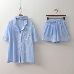 Gingham Pajamas Set - 커플룩헤어밴드포함