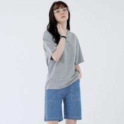 W루디아 3601-미니로고(멜란지그레이)오버핏 티셔츠
