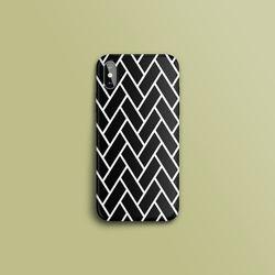 헤링본 패턴 블랙 슬라이드 아이폰케이스
