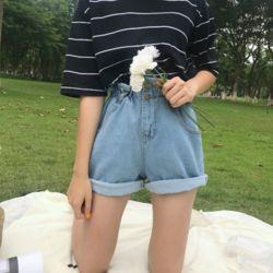 하이 플리츠 반바지 여성 여름 데님 청 바지