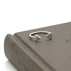 9R0354 삼각형 크로스 오픈형 마디 반지