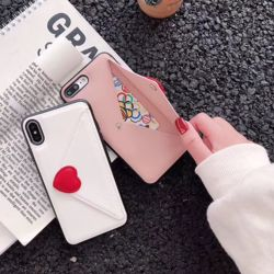 아이폰 러브 하트 가죽 카드 수납 지갑 실리콘 케이스
