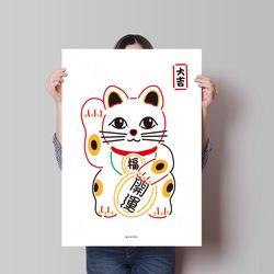 유니크 일본 디자인 포스터 M 마네키네코2 대길 A3(중형)