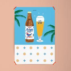 유니크 일본 디자인 인테리어 포스터 M 오키나와3 맥주 A3(중형)
