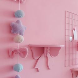 파스텔 핑크 리본 선반장