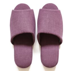 purple linen slipper