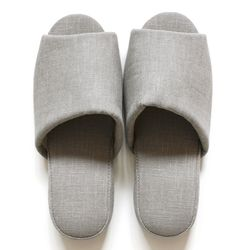 gray linen slipper
