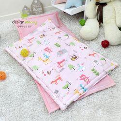 순면 엔 낮잠이불 일체형세트(가방형)-애니멀즈 핑크