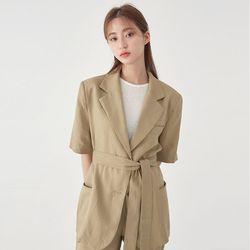 garnet linen belt jacket