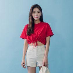 [로코식스] 스트링 크롭 티셔츠