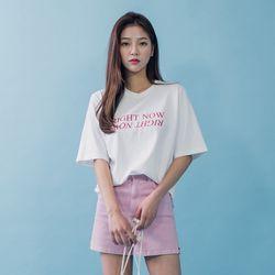 [로코식스] 베이직 레터링 박스티셔츠