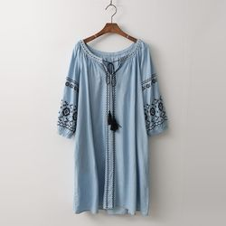 Denim Broderie Tassel Dress - 7부소매