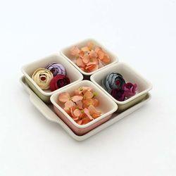 NEMO 달소금 도자기 나눔접시 마블 사각 디저트 접시세트