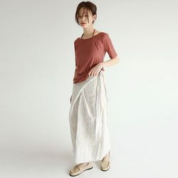 organic stripe lap skirts (2colors)