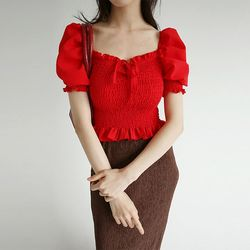 square off neck frill blouse