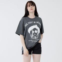 W루디아 3602-홀리데이(다크멜란지그레이)오버핏 티셔츠