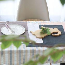 린넨워싱 스트라이프 식탁보 - 베이지 6인용