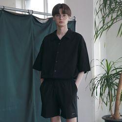 [무료배송] Minimal Regular Fit Washed Linen Shirts Black