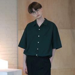 [무료배송] Minimal Regular Fit Washed Linen Shirts Deep green