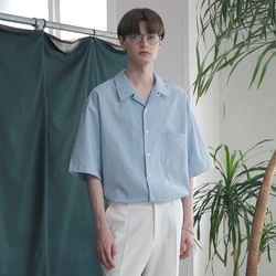 [무료배송] Minimal Regular Fit Washed Linen Shirts Sky