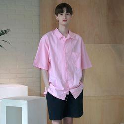 [무료배송] Minimal Regular Fit Washed Linen Shirts Pink