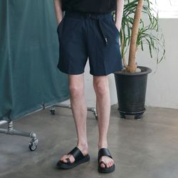 Utility Washed Linen Short Pants Navy