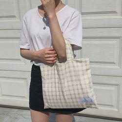 natural linen check square bag. ( hand made )