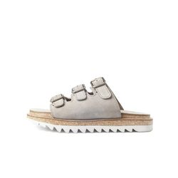 WHITE RIPPLE T-BUCKLE SANDALS