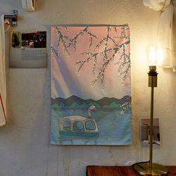 벚꽃 일러스트 패브릭 포스터.가리개커튼 (M 사이즈)