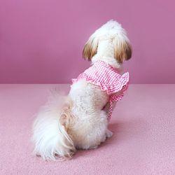 체크 차차망토 핑크