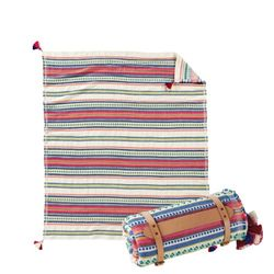 코튼 자카드 담요 팔로마 스트라이프 브라이트 (캐리어 포함)