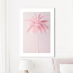 핑크팜 야자수 그림 인테리어 액자 A2 포스터+알루미늄액자