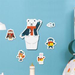 nb090-인테리어벽시계-북극곰과친구들