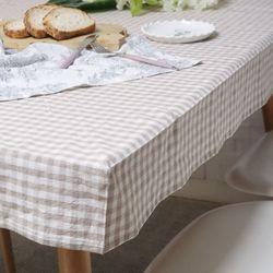 흘러내리지 않는 각잡힌 식탁보 러블리체크 베이지 2인용