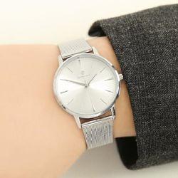 [Timepieces] 심플 실버 남성용 커플 메쉬시계 OTC118T31TSS