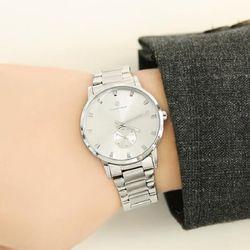 [Timepieces] 세련된 실버 남성용 커플 메탈시계 OTC119502FSS