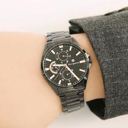 [Timepieces] 모던 블랙 남성용 커플 메탈시계 OTC119503FBB