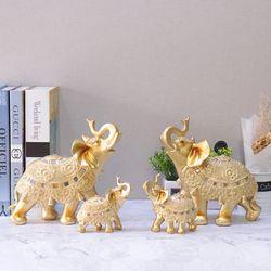 골드 코끼리장식품 E-G101202 4P SET 인테리어장식소품