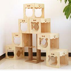 고양이 미니룸 계단식 나무 캣타워 C
