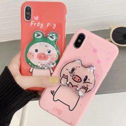 아이폰 케이스 핑크돼지 캐릭터 글리터 실리콘 커버