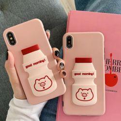 아이폰 핑크돼지 캐릭터 입체 요구르트 실리콘 케이스