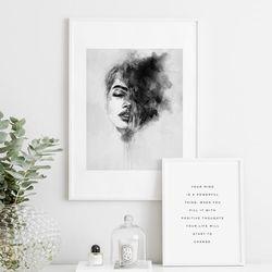 여인 수채화 그림 인테리어 액자 A3 포스터